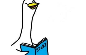 goose holding storyboook